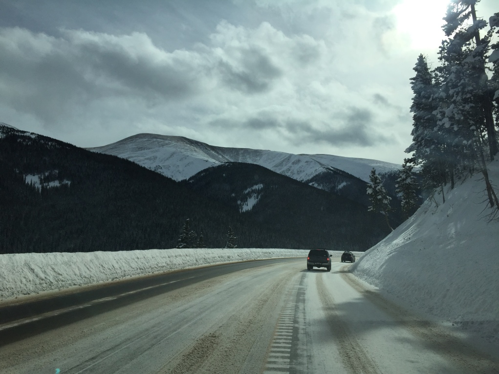 Driving up to the Rocky Mountains in Colorado