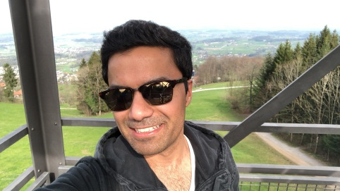 Selfie time with the Swiss mountains in the background!
