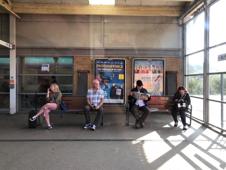 Waiting train passengers