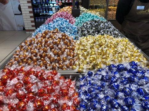 Piles and piles of Lindt Lindors as far as the eye can see, glittering in their bright colorful wrappers!