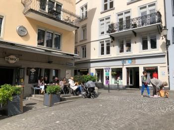 A bustling plaza in Zurich